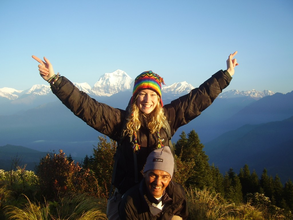 Poon Hill in the Himalayas, Nepal.  Our guide didn't carry me all the way up, honest!