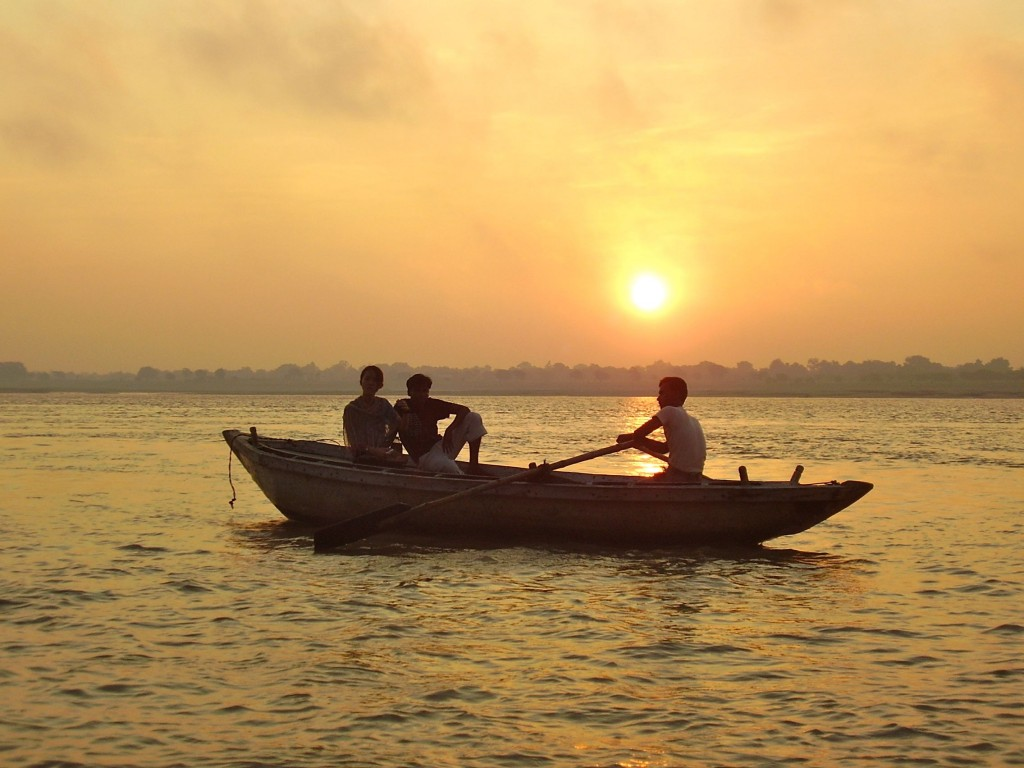 Sunrise on the Ganges river at Varanasi, India.  Now that's what I call peaceful.
