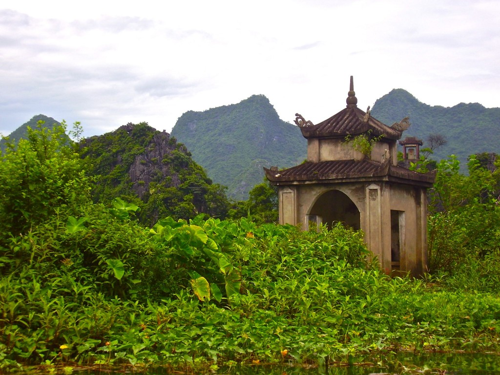 Magical moments - beautiful pagoda on the Yen river, Vietnam.