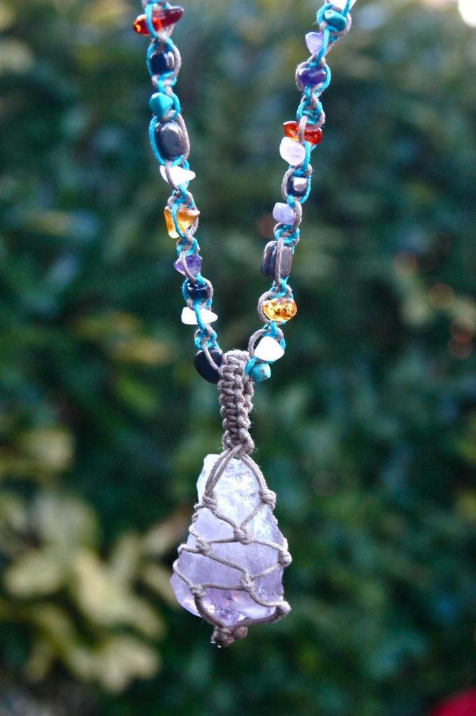 raw amethyst multi-gemstone necklace