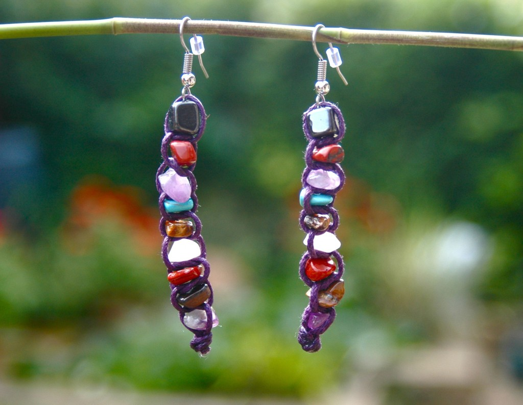 Macrame gemstone earrings.  You can browse my Etsy shop TessHeaven here.