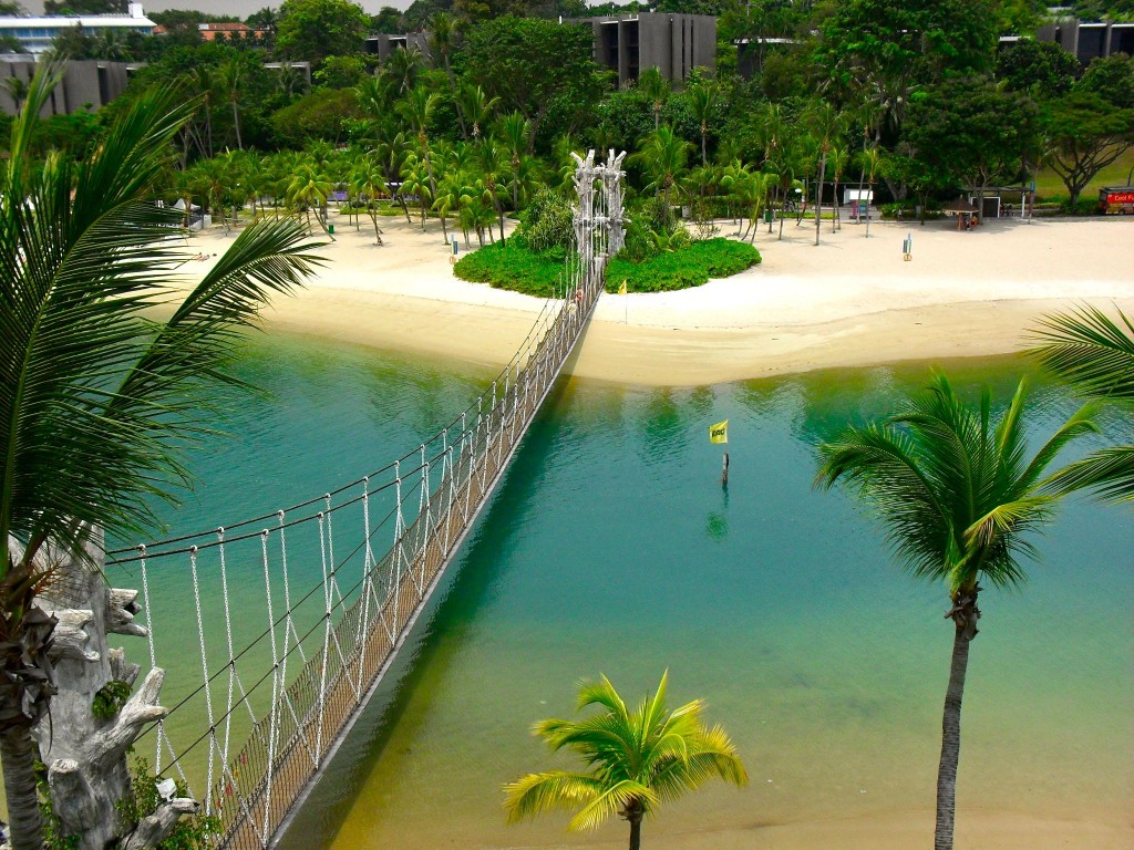 Palawan beach on Sentosa island, Singapore, with suspension bridge across to the southernmost point in continental Asia.