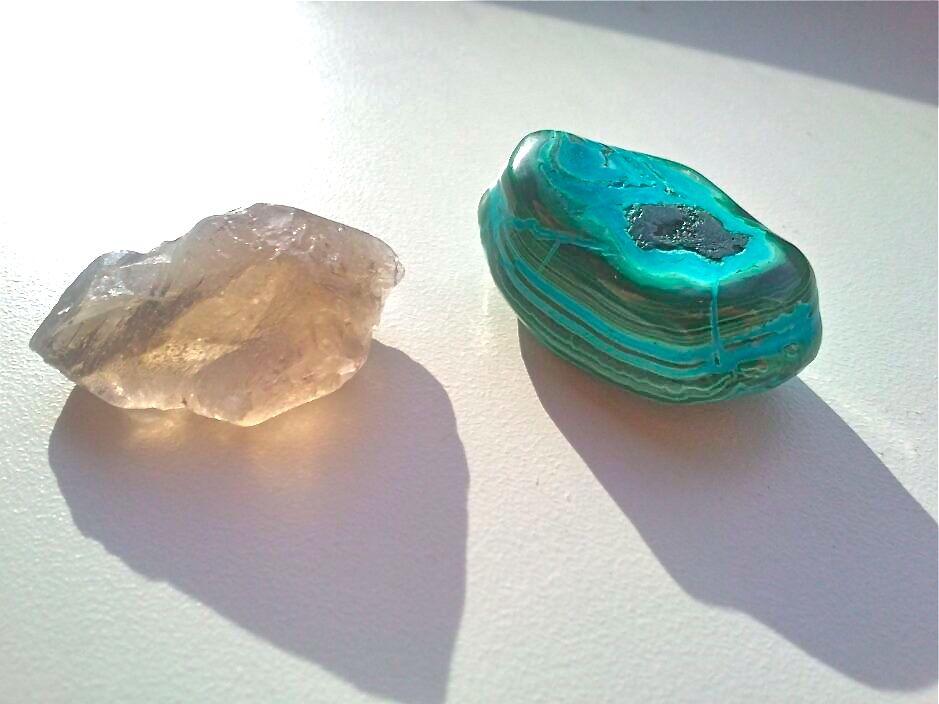 smokey quartz and chrysocolla&malachite
