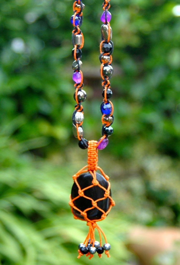 One of a kind black onyx macrame necklace from my Etsy shop.