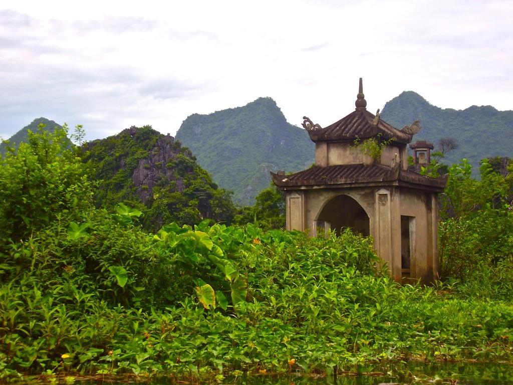 Magical moments - beautiful pagoda on the Yen river, Vietnam.