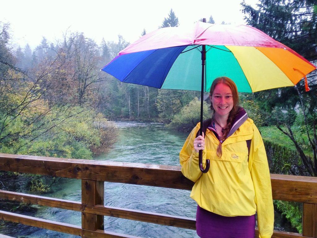 giant rainbow umbrella, slovenia